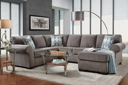 Roosevelt Collection 193050-SEC-CS 129 2 PC Chaise Sectional with Rolled Arms  Block Feet and Charisma Smoke Fabric Upholstery in Grey