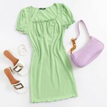 Lettuce Trim Ruched Bust Solid Dress