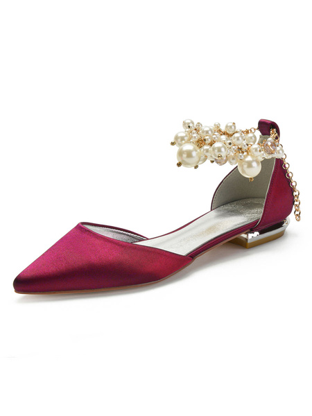 Milanoo Champagne Wedding Shoes Satin Pointed Toe Pearls Flat Bridal Shoes