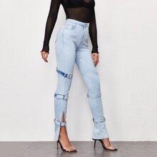 Split Hem Buckle Strap Light Wash Jeans