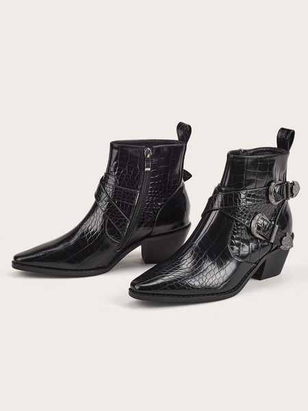 Milanoo Women Ankle Boots Black PU Leather Pointed Toe Buckle Chunky Heel 2.4 Booties