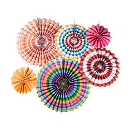Hanging Paper Fans Set, Round Pattern Paper Garlands Decoration for Party - LIVINGbasics™