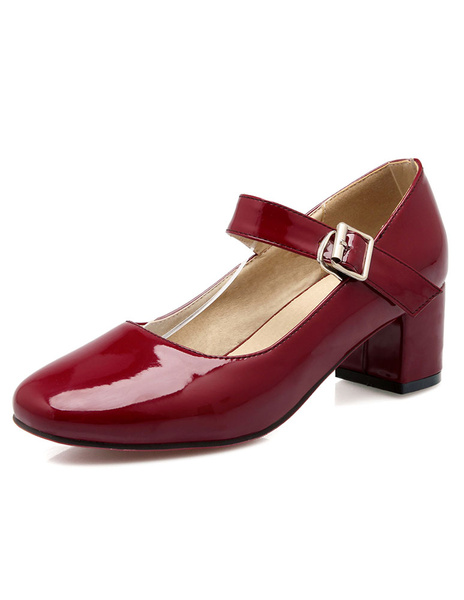 Milanoo Women's Block Heel Pumps Patent Mary Jane Square Toe Low Heel Shoes in Burgundy