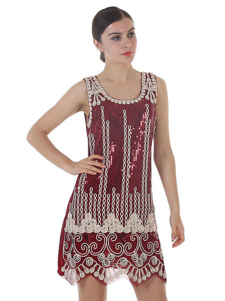 Milanoo Flapper Dress 1920s Fashion Style Sequined Embroidered Great Gatsby Costume Women Vintage 20s Party Dress