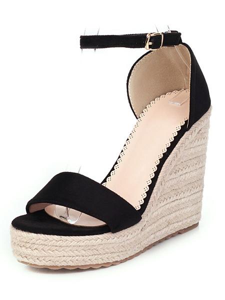 Milanoo Alpargatas Sandalias de cuña para mujer Zapatos de plataforma en negro