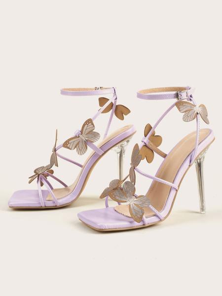 Milanoo Women\'s Heel Sandals Lilac Stiletto Heel Peep Toe PU Leather Butterfly Pattern Sexy Heel Sandals