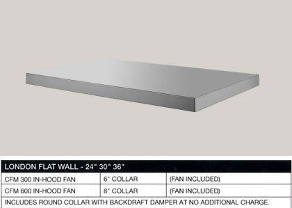 BSLOND66SS 66 London Flat Wall Mount Under Cabinet Range Hood with 3-Speed Control  High Heat Sensor  Halogen Lamps  Anodized Aluminum Mesh Filters