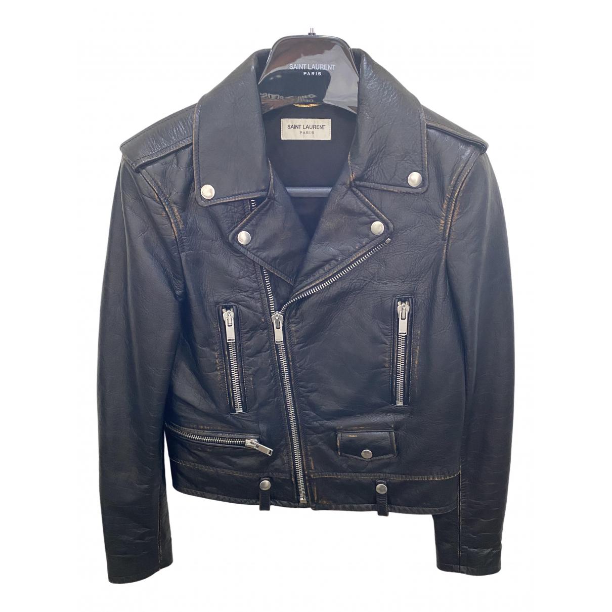 Saint Laurent \N Brown Leather jacket for Women 38 IT