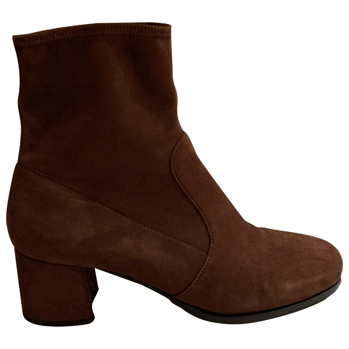 Prada \N Brown Suede Ankle boots for Women 38.5 EU
