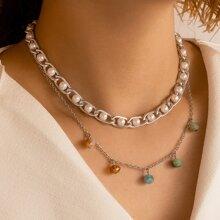 Collar a capas con perla artificial