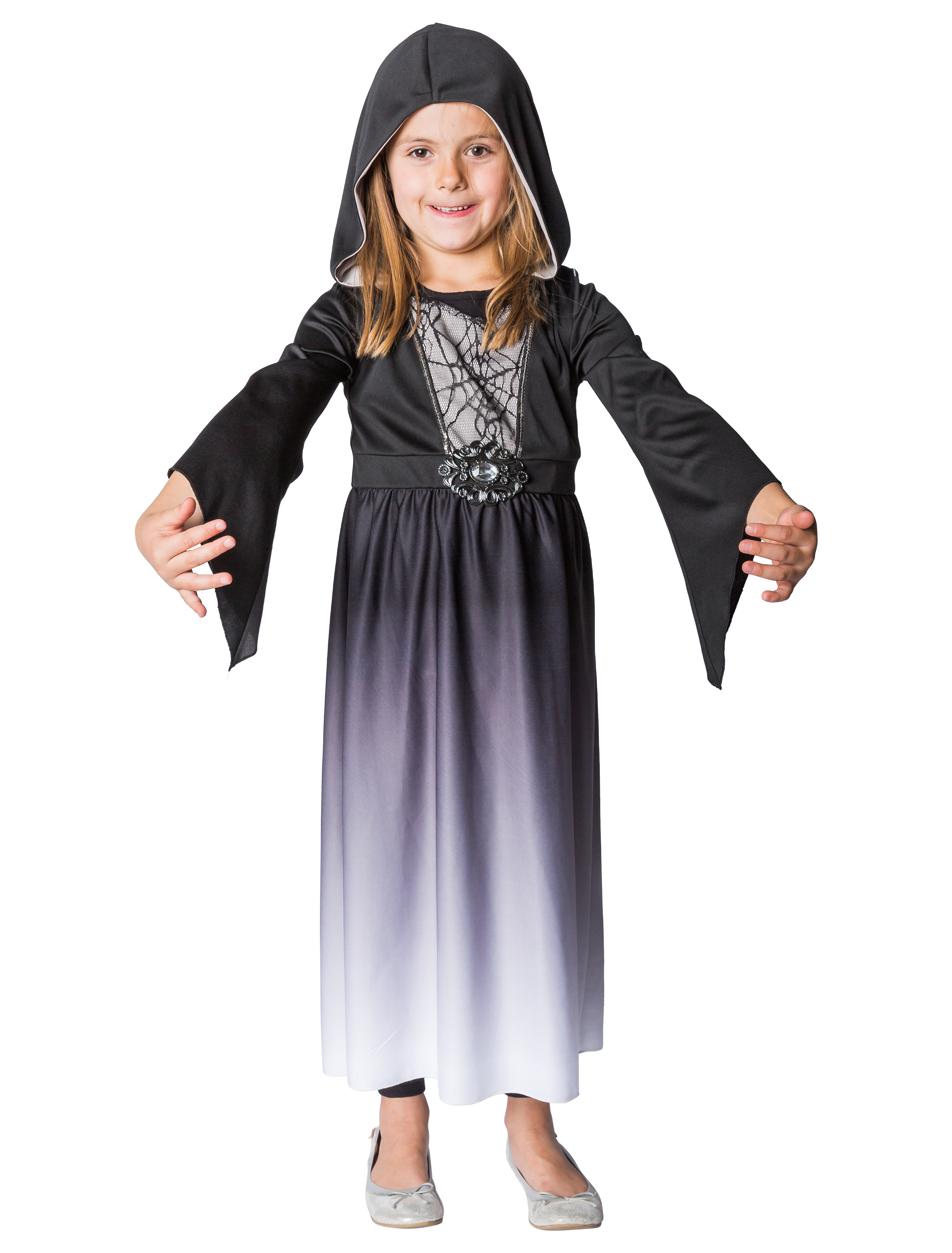 Kleid Halloween mit Kapuze Kinder 116/128