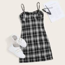 Plaid Bustier Cami Dress