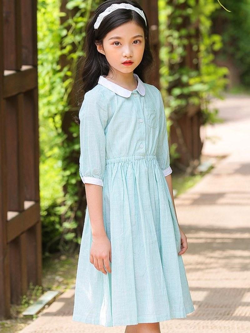 Ericdress Plain Pleated A-Line Half Sleeve Girl's Casual Dress