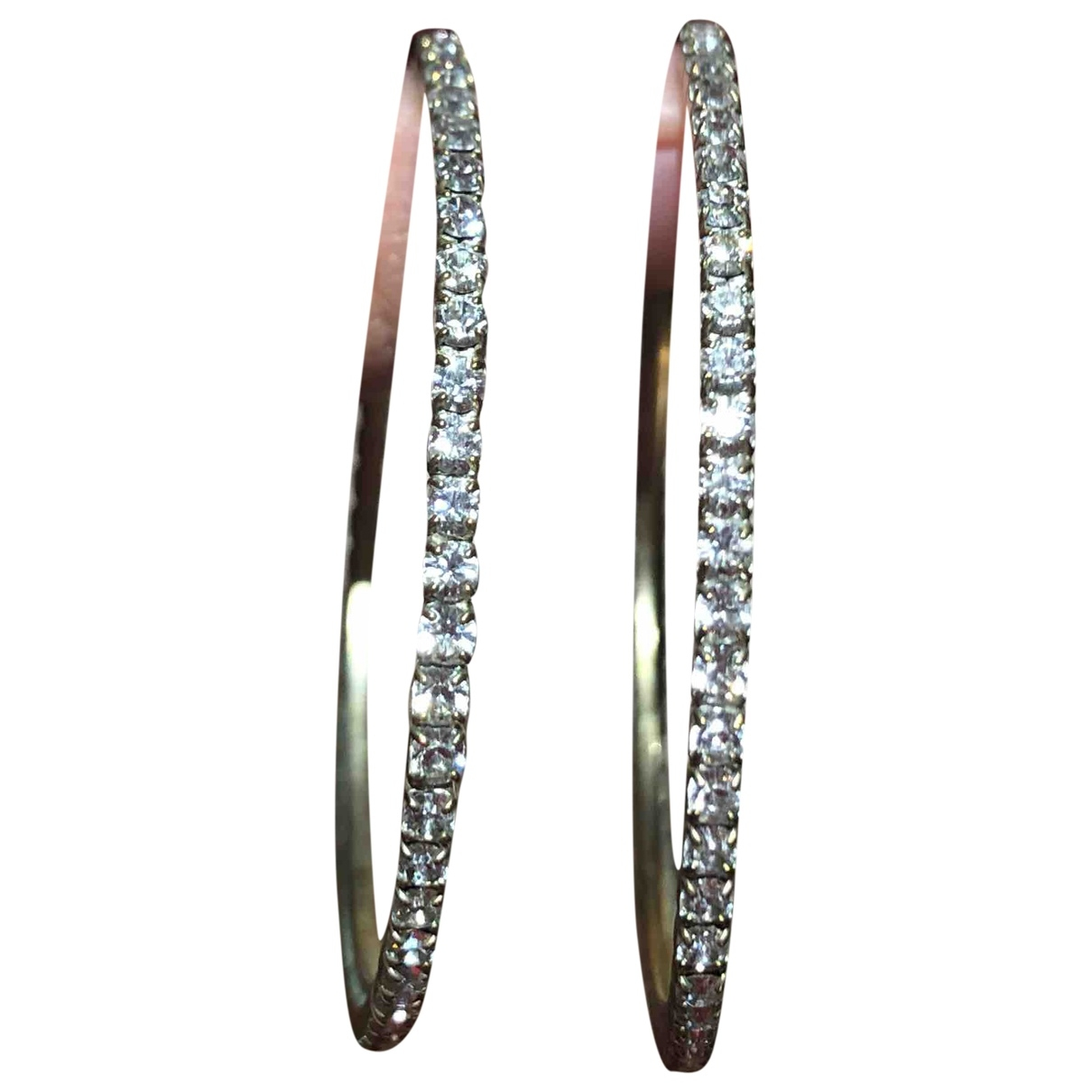 Non Signé / Unsigned Créoles Silver Crystal Earrings for Women \N