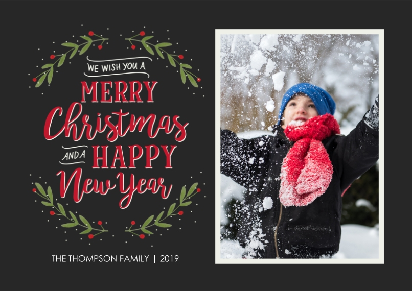 Christmas Photo Cards 5x7 Cards, Premium Cardstock 120lb with Rounded Corners, Card & Stationery -Merry Wreath