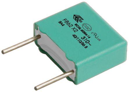 KEMET 120nF Polypropylene Capacitor PP 310V ac ±10% Tolerance Through Hole F862 Series (10)