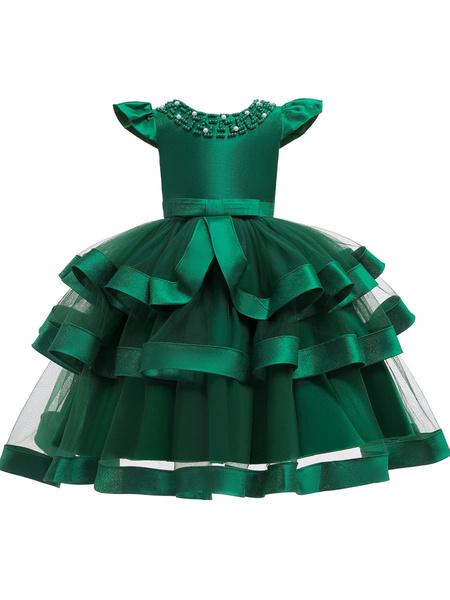 Milanoo Flower Girl Dresses Jewel Neck Tulle Short Sleeves Knee Length Princess Silhouette Beaded Formal Kids Pageant Dresses