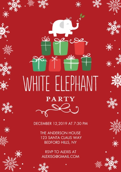 Christmas & Holiday Party Invitations 5x7 Cards, Premium Cardstock 120lb with Rounded Corners, Card & Stationery -Holiday Invite Elephant by Tumbalina