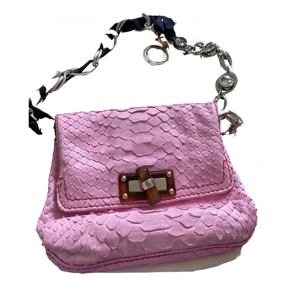 Lanvin - Pochette Happy pour femme en cuir - rose