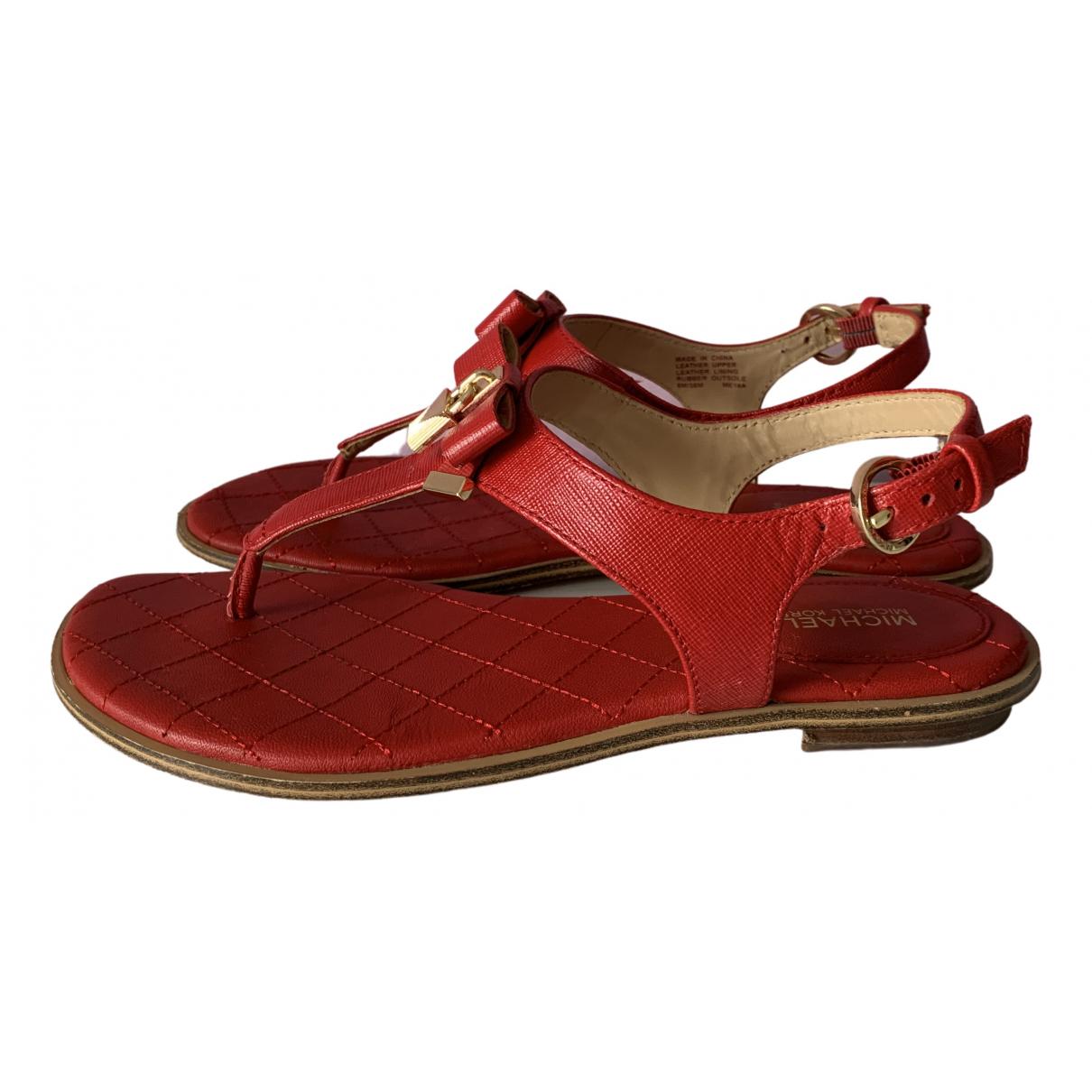 Michael Kors - Sandales   pour femme en cuir - rouge