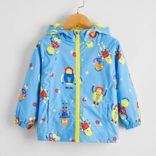 Toddler Boys Cartoon Graphic Windbreaker Jacket