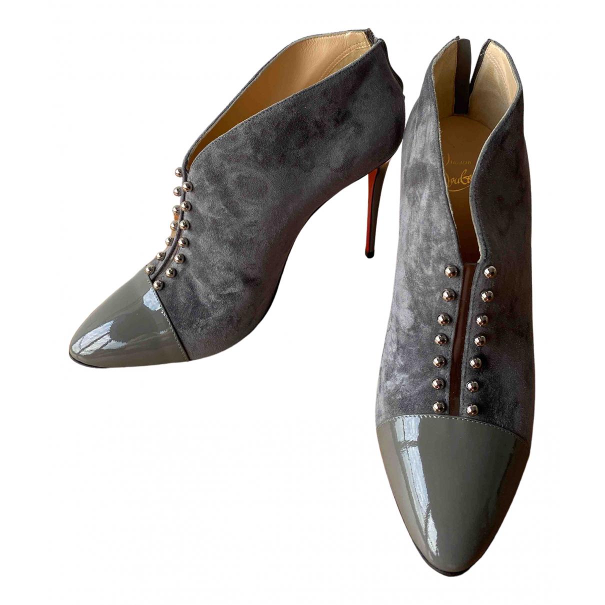 Christian Louboutin - Boots   pour femme en suede - gris