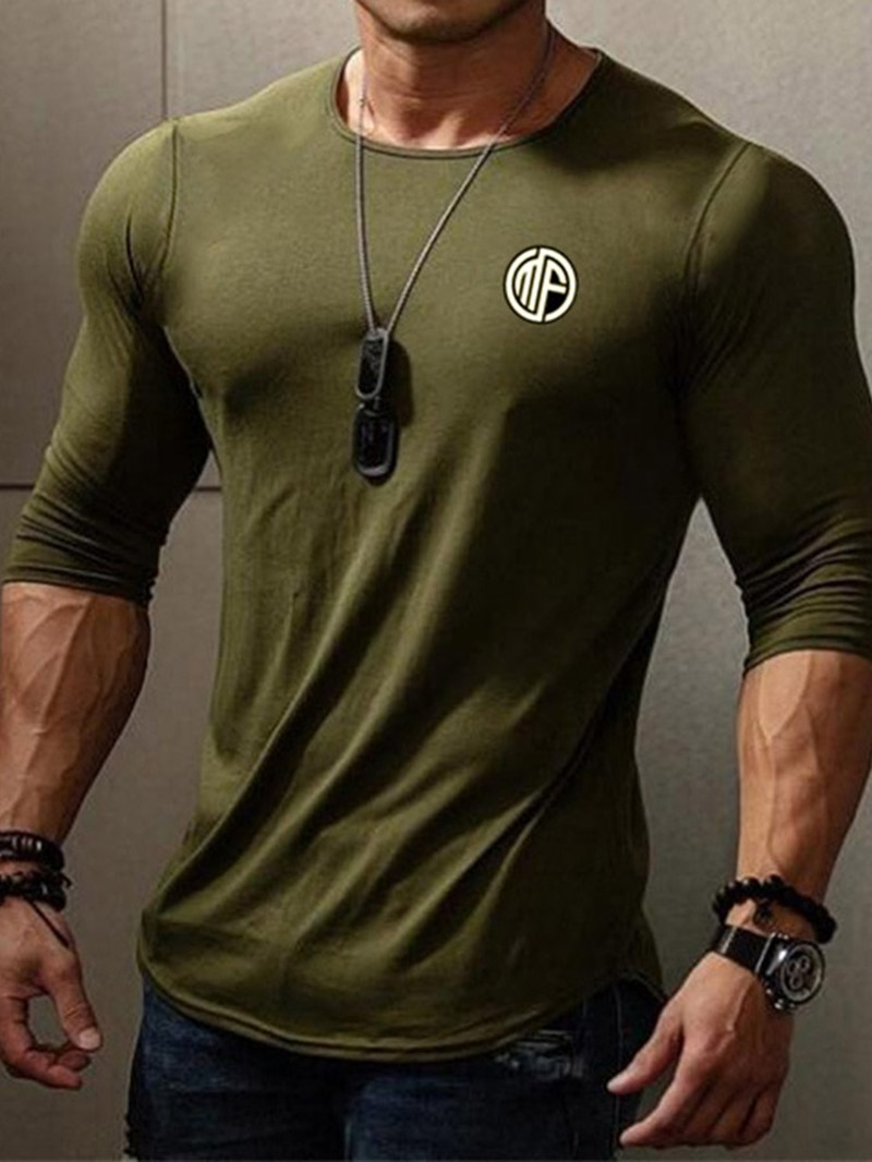 Ericdress Round Neck Casual Men's Slim Long Sleeve T-shirt