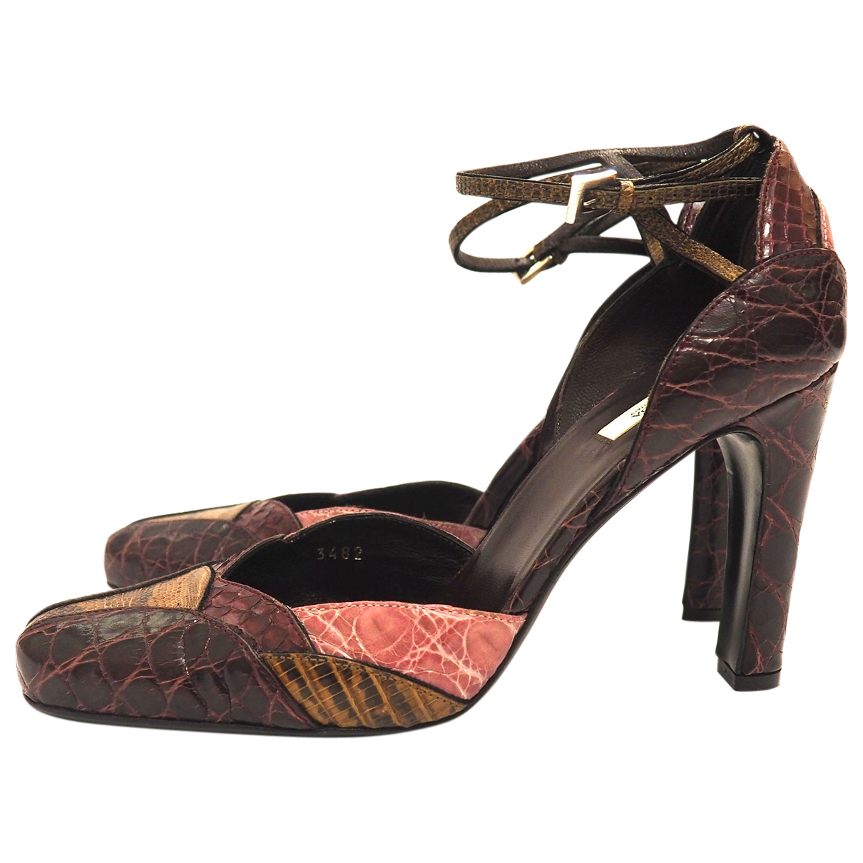 Prada - Escarpins   pour femme en cuir exotique - bordeaux