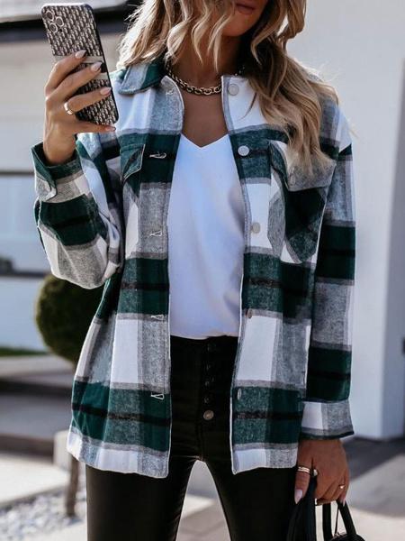 Milanoo Black Plaid T Shirt Blouse For Women Turndown Collar Retro Long Sleeves Polyester Winter Tops