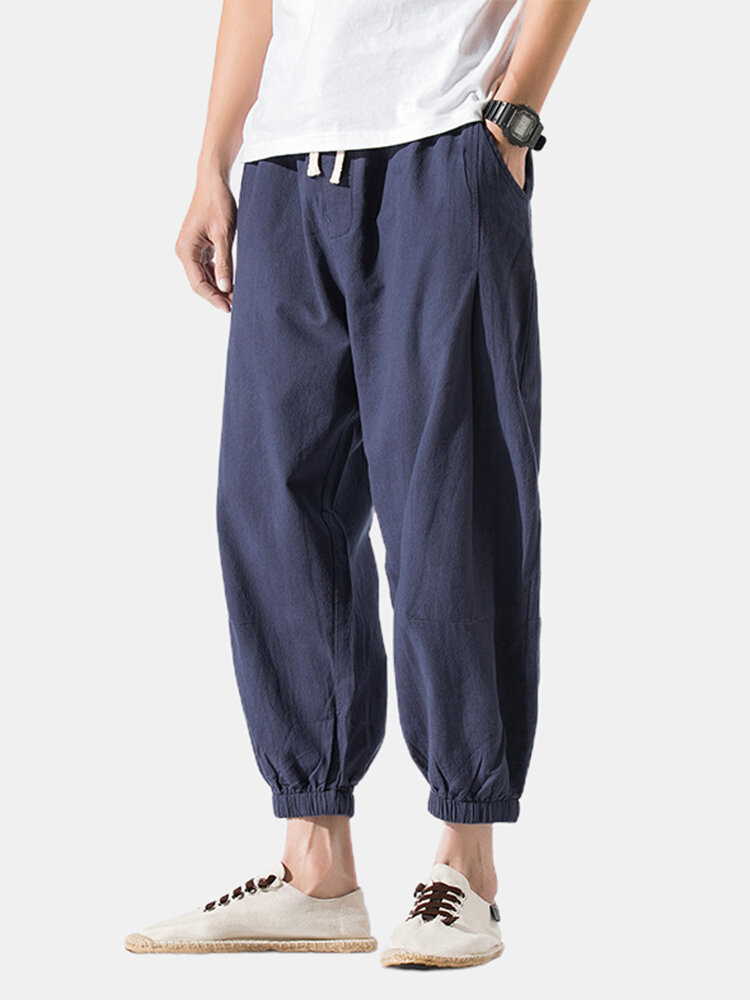 Mens Linen Breathable Elastic Ankle Drawstring Waist Casual Sport Pants