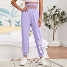 Letter Graphic Fishnet Panel 2 In 1 Pants