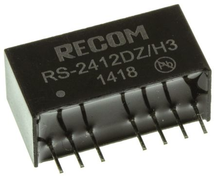 Recom RS 2W Isolated DC-DC Converter Through Hole, Voltage in 9 ? 36 V dc, Voltage out �12V dc Medical Approved