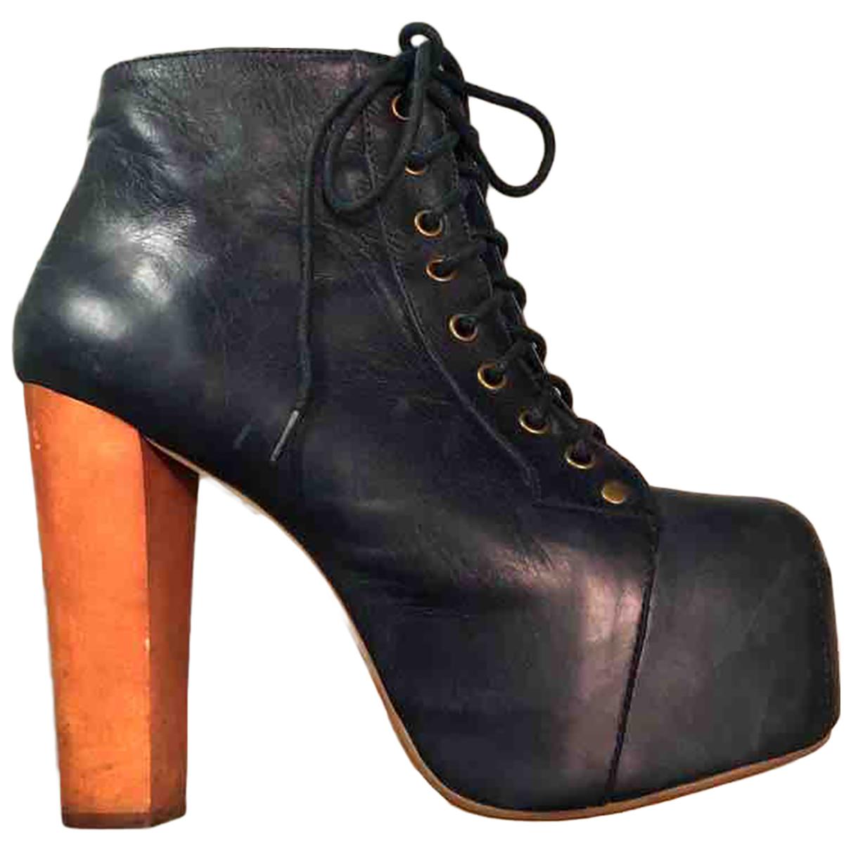 Jeffrey Campbell - Boots   pour femme en cuir - bleu