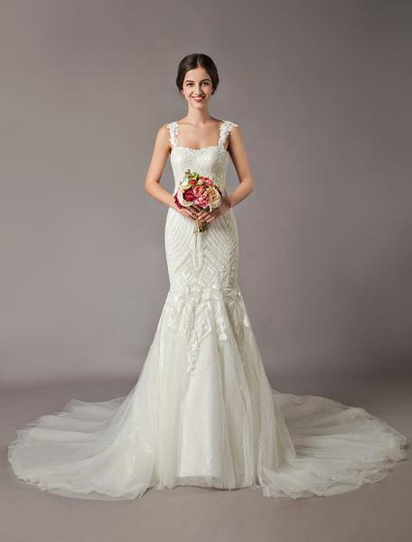 Milanoo Mermaid Wedding Dresses Luxury Straps Sequin Lace Tulle Chapel Train Bridal Gowns