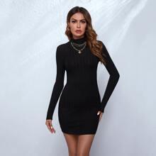 High Neck Rib-knit Bodycon Dress