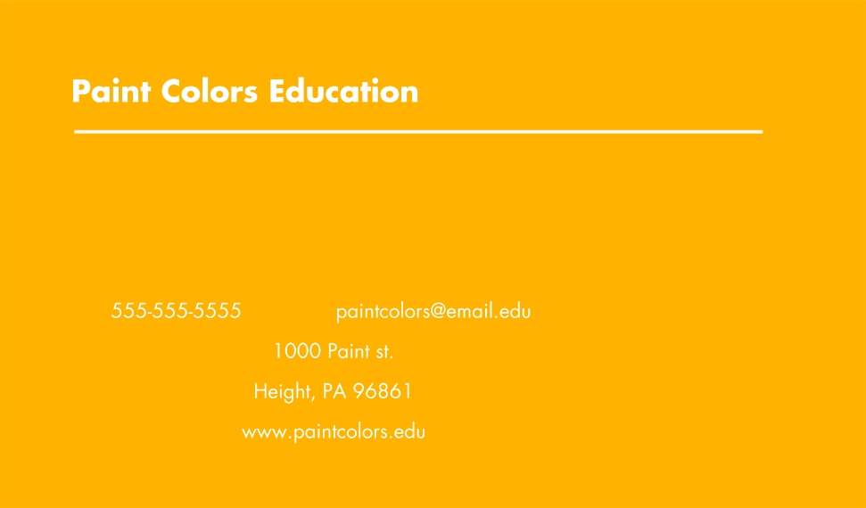 Education Business Cards, Set of 40, Card & Stationery -Paint Colors