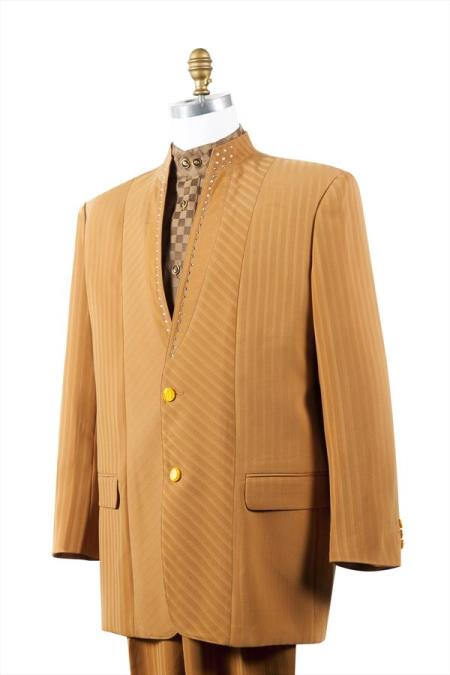 2 Button Tuxedo Trimmed Pleated Pants 3 Piece Suits Camel ~ Gold