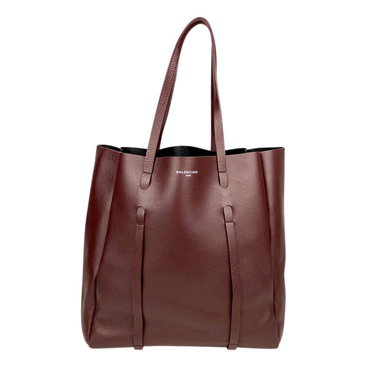 Balenciaga - Sac a main Eveyday Cabas pour femme en cuir - bordeaux