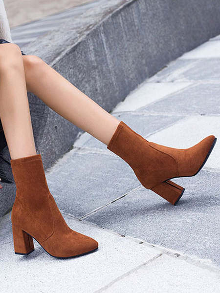 Milanoo Suede Ankle Boots Plus Size Women Pointed Toe High Heel Booties
