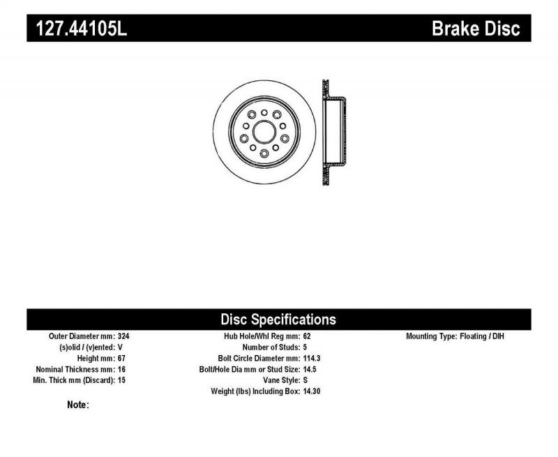 StopTech 127.44105L Sport Drilled/Slotted Brake Rotor; Rear Left Toyota Supra Rear Left 1993-1998 3.0L 6-Cyl
