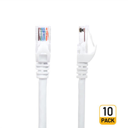 50pi Cat5e 350MHz UTP 24AWG câble réseau Ethernet - blanc - PrimeCables® - 10/paquet