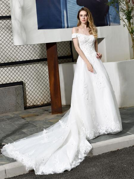 Milanoo Simple Wedding Dress 2020 A Line Bateau Neck Short Sleeves Floor Length Applique Bridal Dresses With Train