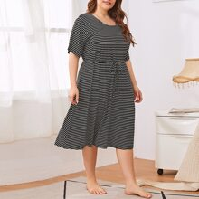 Plus Striped Zipper Detail Nursing Night Dress