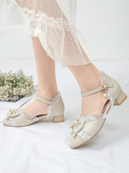 Milanoo Sweet Lolita Footwear BowsLace Round Toe PU Leather Lolita Shoes