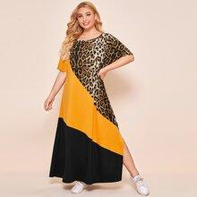 Plus Color-block Leopard Panel Slit Hem Dress