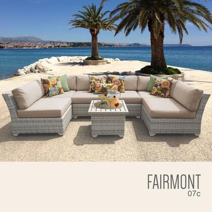 FAIRMONT-07c-WHEAT Fairmont 7 Piece Outdoor Wicker Patio Furniture Set 07c with 2 Covers: Beige and