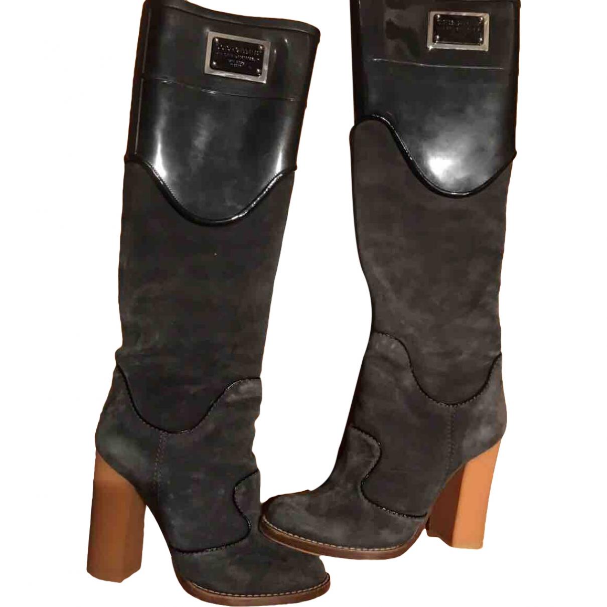 Dolce & Gabbana \N Black Suede Boots for Women 39 EU