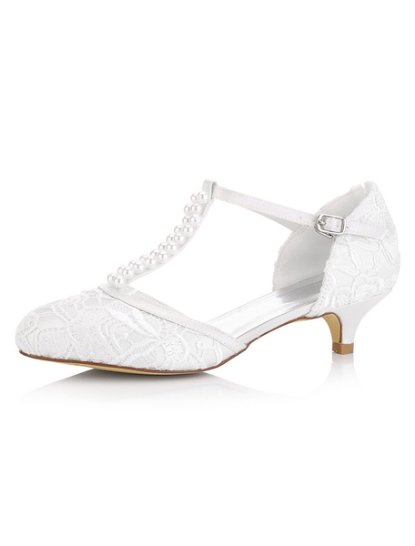 Milanoo White Wedding Shoes Kitten Heel Pearls Satin T-Type Bridal Shoes Vintage Shoes