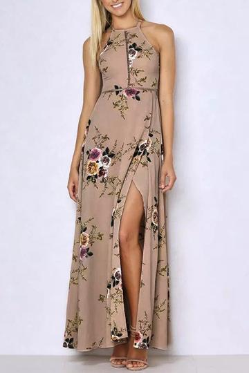 Yoins Halter Neck Open Back Random Floral Print Maxi Dress in Khaki