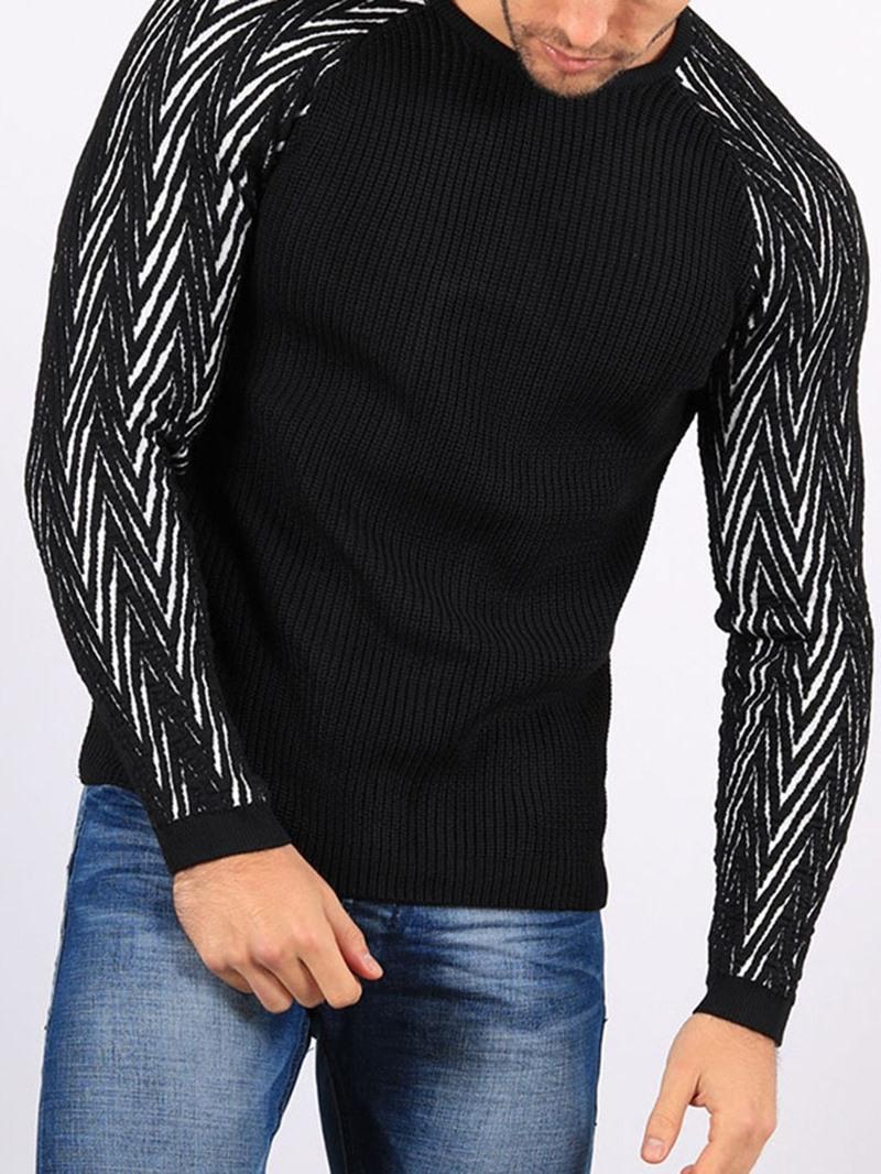 Ericdress Color Block Round Neck Casual Men's Slim Sweater